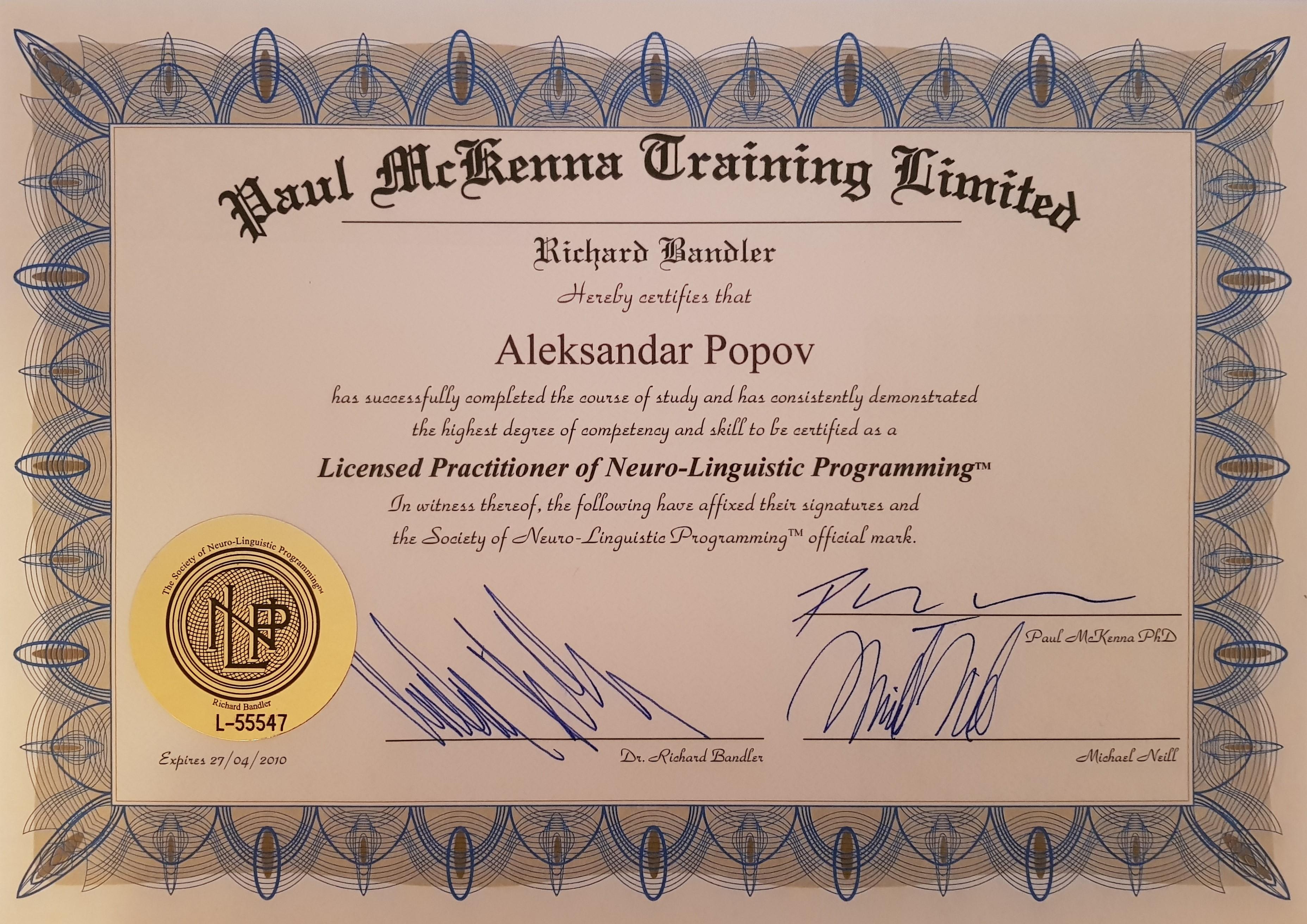 Alex Popov – NLP Praktik, Practitioner of NLP, Practitioner of Neuro-Linguistic Programming, NLP Trenior, NLP Terapevt, NLP Terapia, Hipnoterapia, Hipnoterapevt